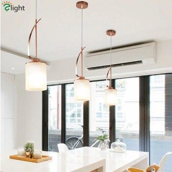 Nordic Dining Room Plate Rose Gold Pendant Lamp E27 Led Pendant Lights Glass Shades Hanging Light Bar Suspension Lamparas