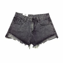 B1324 Black and white and gray high waist denim shorts 2017 new summer women burrs add mast yards han edition tide loose S- 5 xl(China)