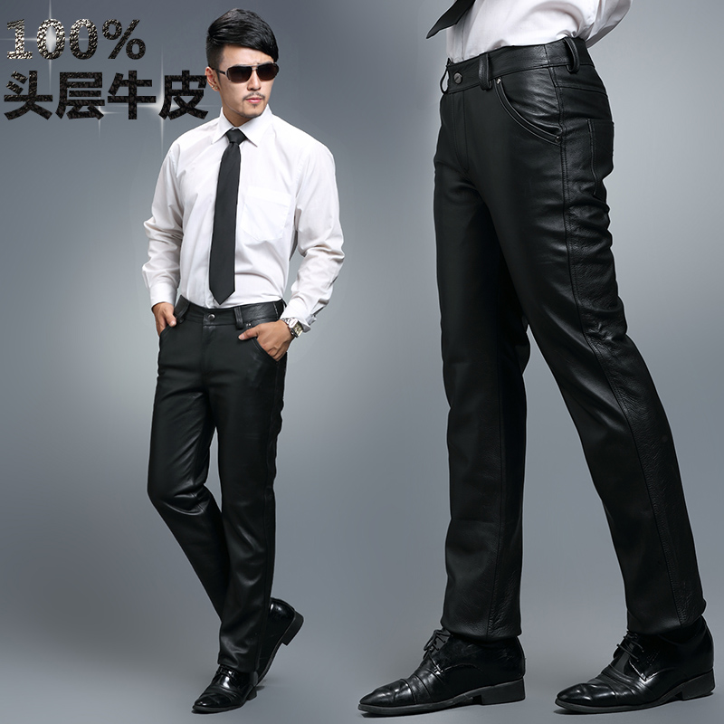 Free shipping Men's brand winter motorcycle windproof genuine leather tight casual cowhide long leather pants trousers / 28 34