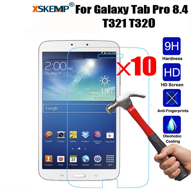 XSKEMP 10Pcs/Lot 9H Real Tempered Glass Screen Protector For Samsung Galaxy Tab Pro 8.4 SM-T320 T321 T325 Tablet Protective Film