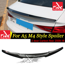 купить For Audi A5 Rear Spoiler Wing Tail M4 Style A5 A5Q 2-Doors Coupe Carbon Fiber Rear Spoiler Rear Trunk Wing car styling 2009-2016 дешево