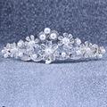 Brillante elegante lleno de cristal granos de la perla adornó nupcial accesorios de la boda tiaras pelo de la corona accesorios pelo de la novia