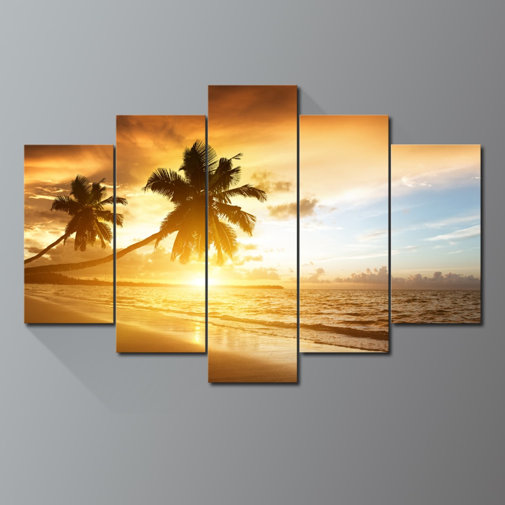 Moderan Unframed Sunset sandy beach Palm picture print canvas wall ...