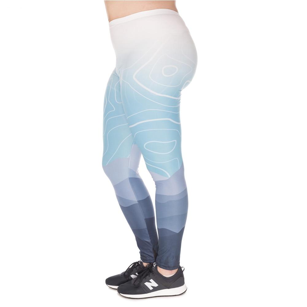 Fashion Large Size Leggings Wild Mountain Printed High Waist Leggins Plus Size Trousers Stretch Pants For Plump Women