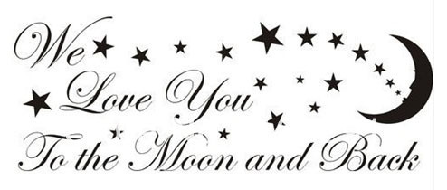 diy love you to the moon and back stars wall art sticker quote