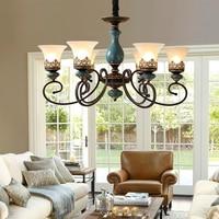 Французский стиль антикварная светодиодный Керамика Люстра Свет Гостиная спальня лампа Европейский классический дизайн светодиодный люс