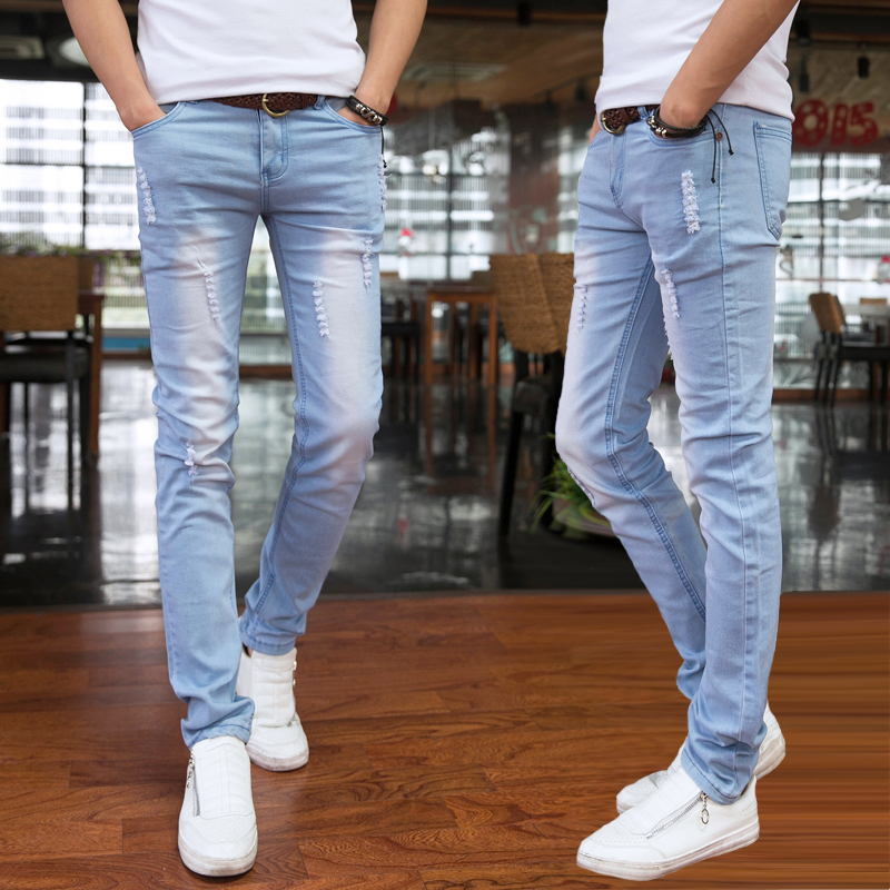 2019 Spring And Summer New Men's Jeans Pant Korean Style Influx Sky Blue Casual Trousers Cool Stretch Man Denim Pants Male 28-34
