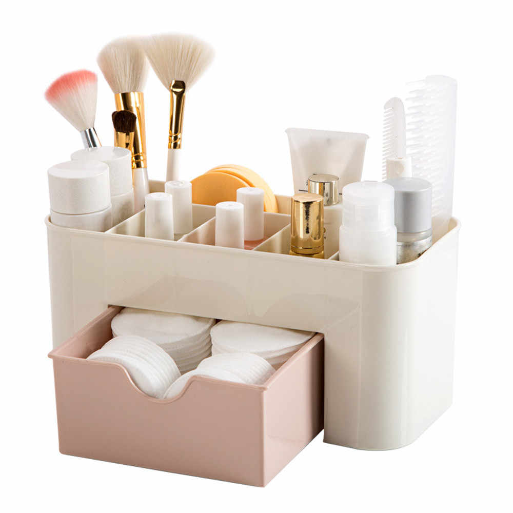 Cosmetic Organizer Saving Space Desktop Comestics Makeup Storage Drawer Box Compartment Tool Penteadeira Makeup Organizers #BL5