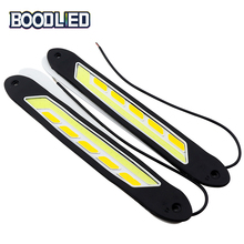 BOODLIED COB LED Light Daytime Running Light White Day Light Signal Lamp Yellow Turn Signal Flexible DRL Car Lamp 12V Waterproof drl daytime running light for mitsubishi outlander 2016 2017 with yellow turn signal light led car day light
