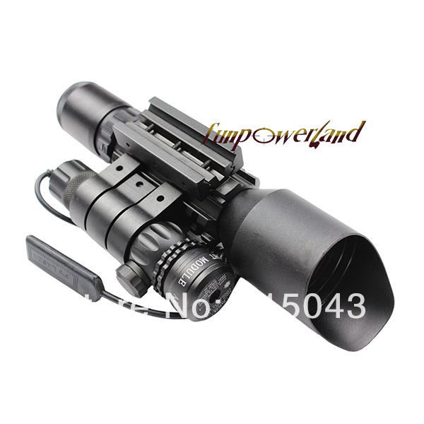 3-10X42+red laser M9B Tactical rifle scope red green Mil-Dot Reticle with side mounted Red laser/Guaranteed 100% 4x 30mm red green mil dot reticle rifle scope with gun mount black 3 x ag13 1 x cr2032