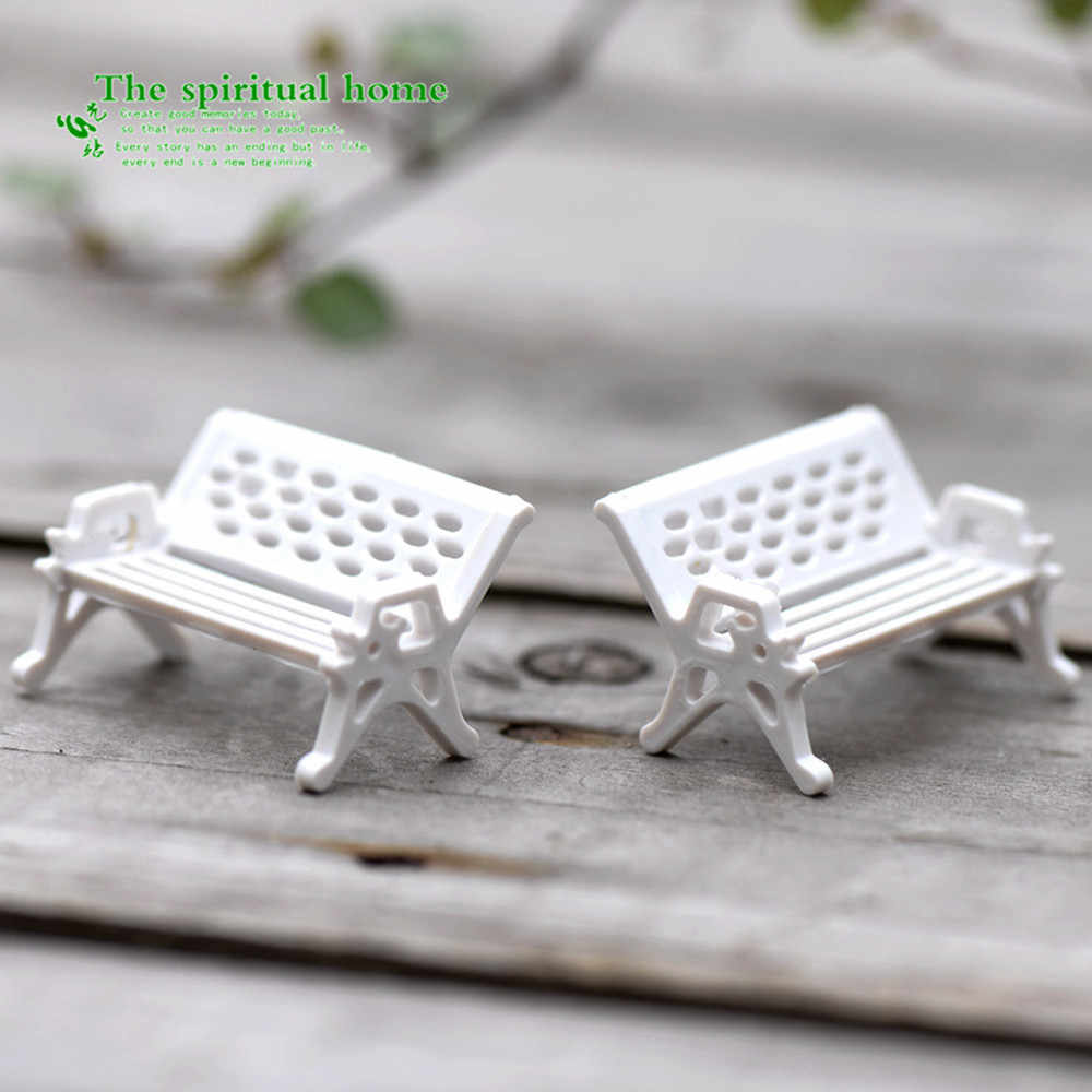home decor accessories 3 pcs High quality Mini Garden Ornament Miniature Park Seat Bench Craft Fairy Dollhouse  Hot sale A301222