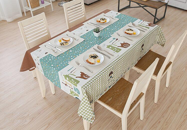 Rectangle Linen Cotton Table Cloth Home Use Party Tablecloth Printed  Pastoral Dustproof Table Covers Protector Home