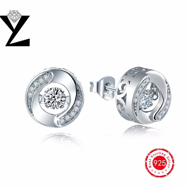 925 Sterling Silver Stud Earrings with Dancing Stone Top Quality Earrings Fashion Rhodium Plated Jewelry Earrings for Women Gift