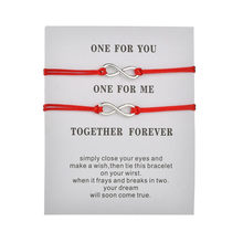New 2Pcs/Set Together Forever Love Infinity Bracelet for Lovers Red String Couple Bracelets Women Mens Wish Jewelry