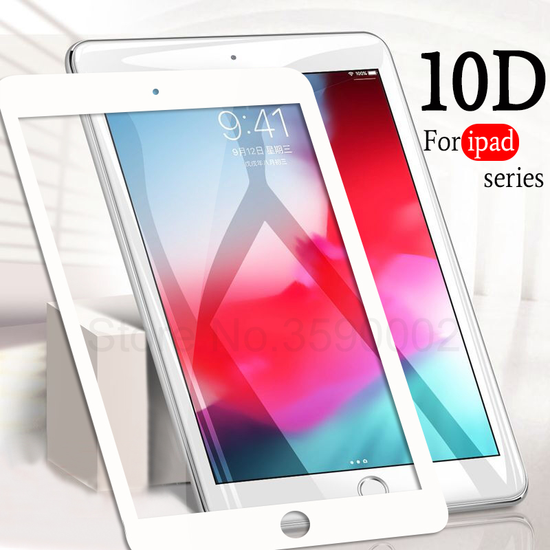 10D Tempered Glass For Apple IPad 9.7 2018 2017 Pro 10.5 11 Glass For IPad Air 2 Mini 1 2 3 4 Screen Protector Protective Film
