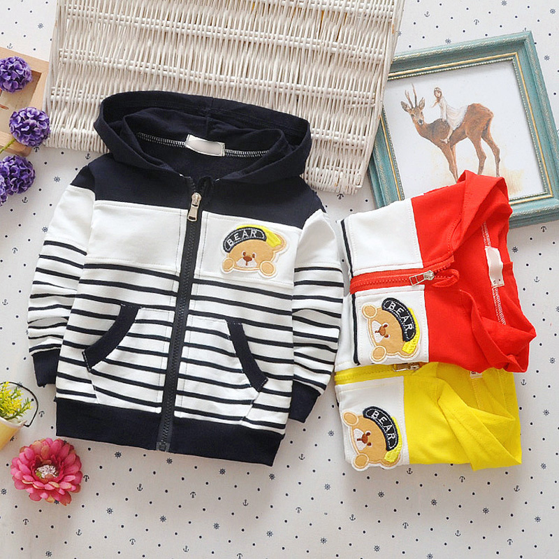 DIIMUU 1PC Baby Boys Clothing Striped Coat Kids Clothes Casual Tops Cotton Hoodies Zipper Cardigan Coats 53004