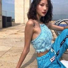 NiceMix Faux Fur Fluffy Halter Backless Sexy Crop Top Women Harajuku Cute Tank Tops Festival Clubwear Fall Winter 2019 Summer