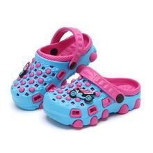 Новые летние детские тапочки комфортный для мальчиков и девочек банные Нескользящие тапочки с героями мультфильмов сабо из ЭВА уличные детские сандалии пляжная обувь