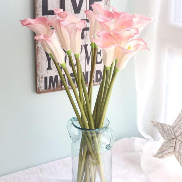 new beautiful artificial fake flowers leaf calla lily floral wedding bouquet party home decor flor decorativa - Flor Decor