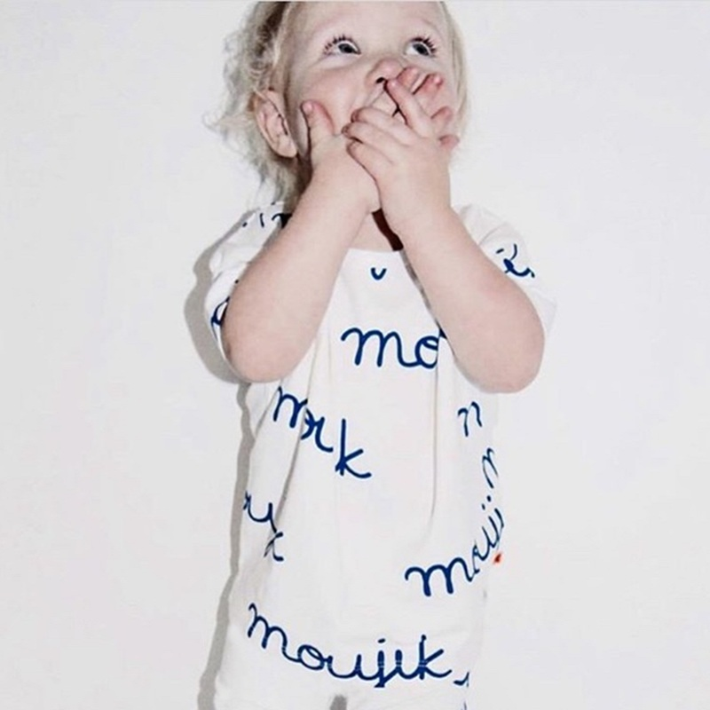 2018 summer Tiny cottons blue black dog milk letter boys girls   romper   jumpsuit baby clothing set vestidosBBR095