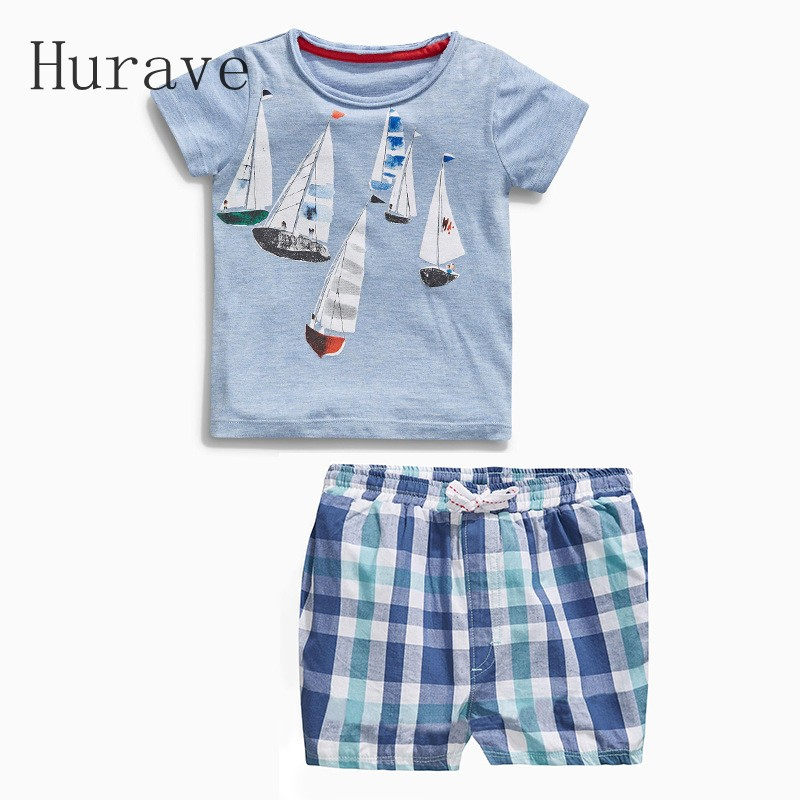 Hurave Children Clothing 2017 New Summer Baby Boy Clothes Sailing Boat Children's Sets туалетная вода clean summer sailing объем 60 мл
