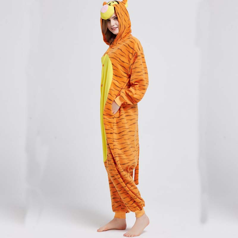 787c93b97c4b Fleece Orange Tiger Kigurumi Animal Jumpsuit For Adult Onesie ...