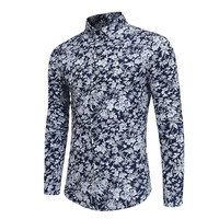Vintage Floral Blusa Dinner Party Clothes Classic Ethnic Group Style Blouse Men Shirt Chinese Blue Male