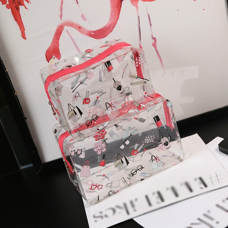Sakura Powder Bright Color Flamingo Large Cosmetic Bags Waterproof Transparent Wash Bag Travel Storage Cosmetics Pack Makeup in Eye Shadow Applicator from Beauty Health