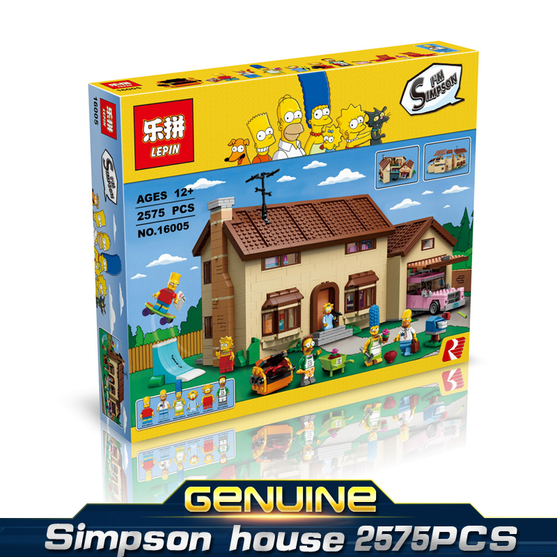 LEPINE 16005 Limited edition Simpson a big house 2575PCS MOC Model Building Kits Brick Toys gift Compatible BELA Gift for kids 2017 new lepine pirate ship imperial warships model building kits block briks toys gift 1717pcs compatible lele 10210