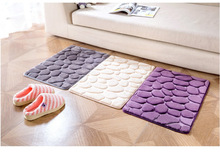 New Concise Flannel Kitchenroom Bathroom Decoration Floor Mat Cobblestones Flower Embossed Anti Slip Rug Small Carpet