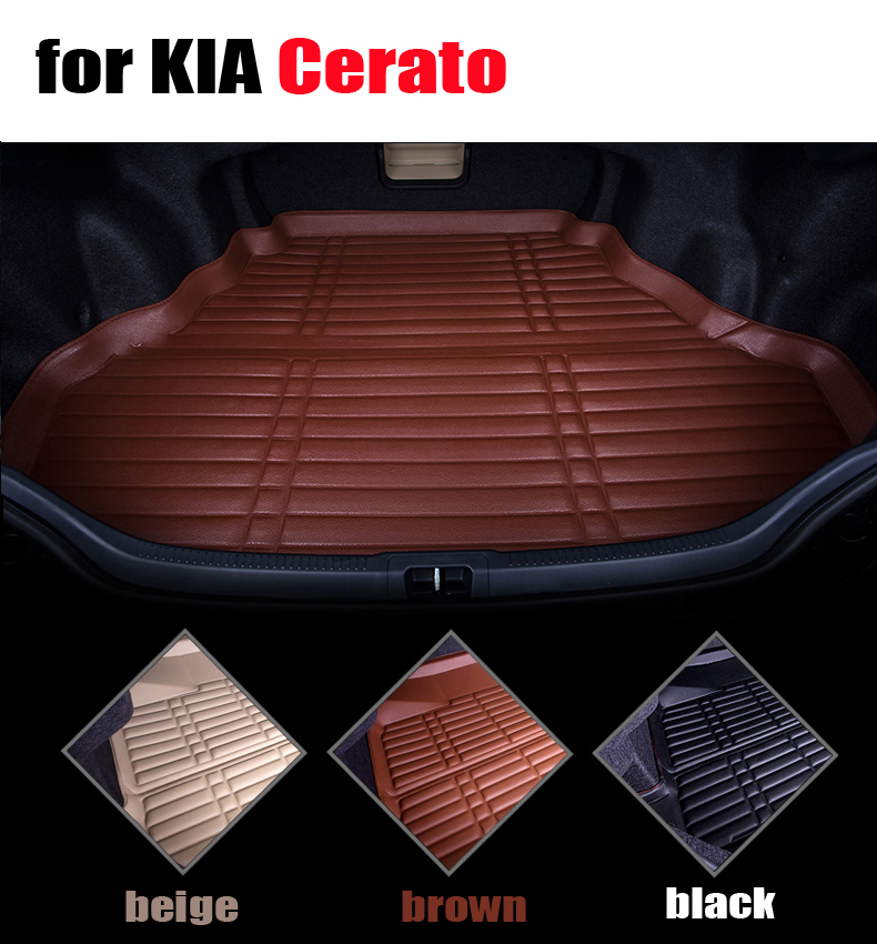 car trunk liner for KIA Cerato 2006-2015 leather waterproof cargo liner all weather car pad cargo mats auto accessories+gift car rear trunk security shield cargo cover for volkswagen vw tiguan 2016 2017 2018 high qualit black beige auto accessories