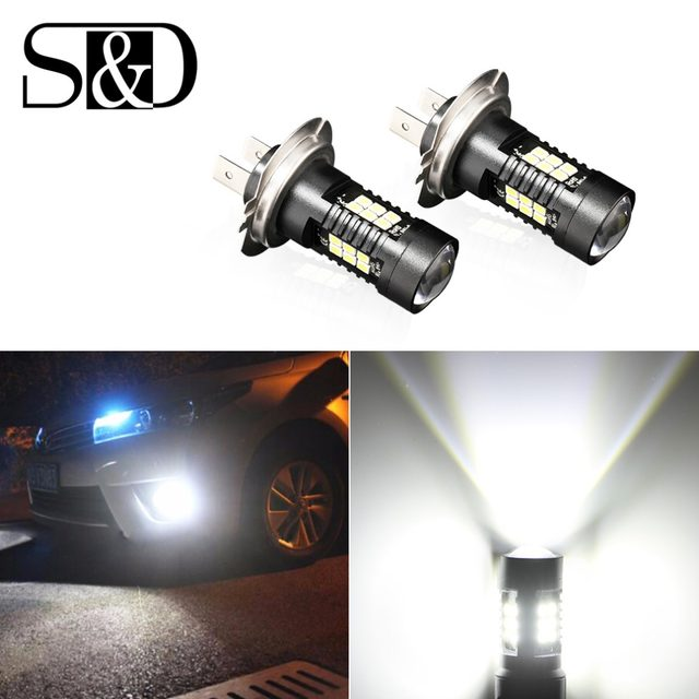 Online Shop 2Pcs H7 LED Lamp Super Bright Car Fog Lights 12V 24V ...