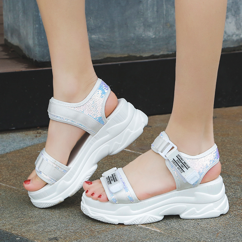 HTB1bVHtd.uF3KVjSZK9q6zVtXXaS - Fujin Summer Women Sandals Buckle Design Black White Platform Sandals Comfortable Women Thick Sole Beach Shoes
