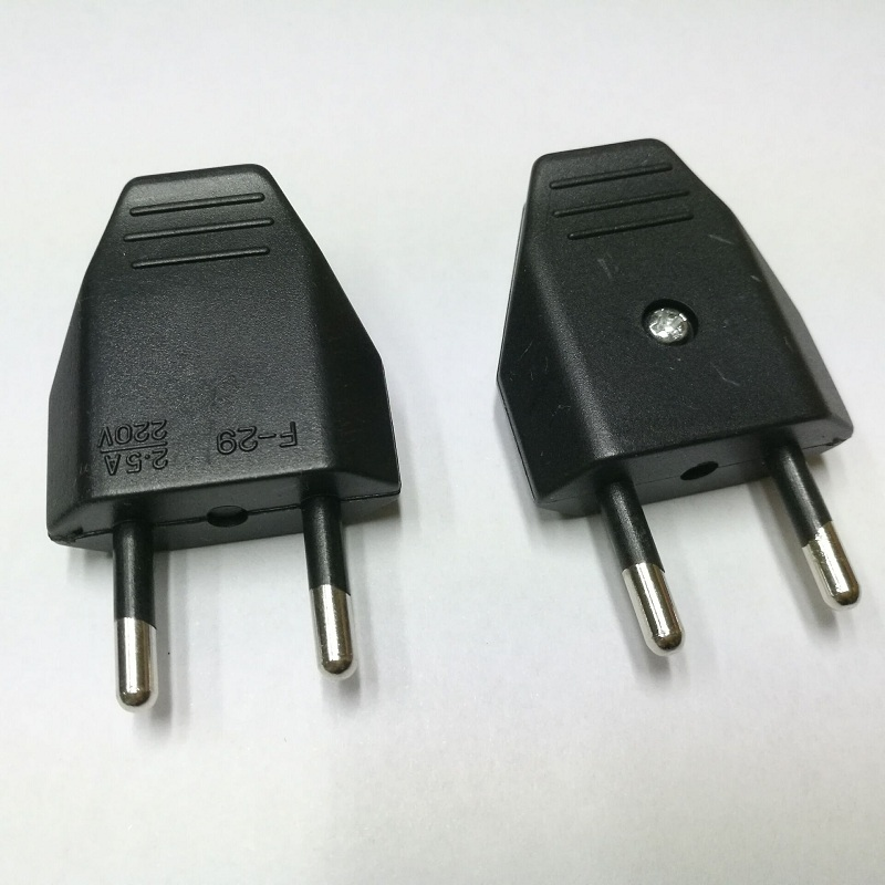european two round 2p power plug wiring assembly eu plug. Black Bedroom Furniture Sets. Home Design Ideas
