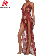 Sexy Sequins Maxi Long Summer Dress Women Strap V Neck High Split Backless Luxury Nightclub Womens Party Dresses vestido HL 2018