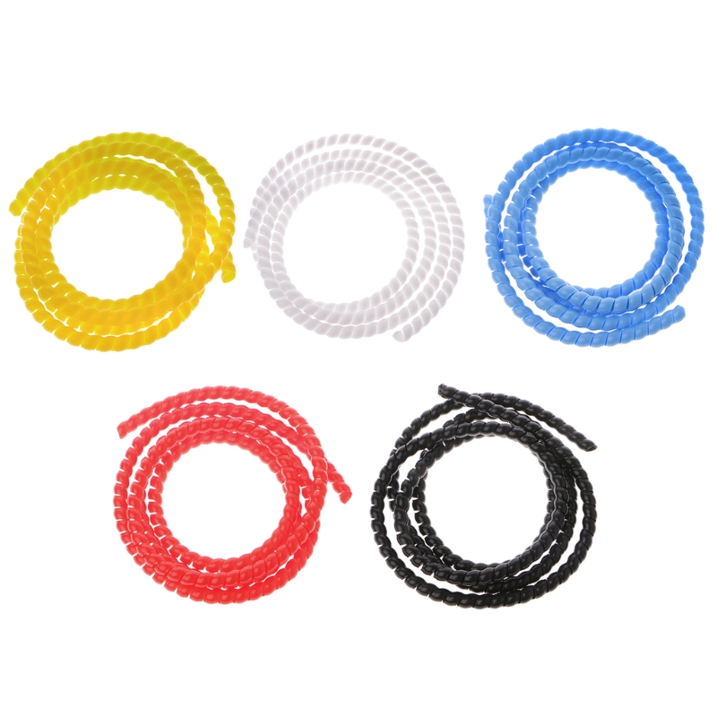 OOTDTY 2m 10mm Black/White/Red/Yellow/Blue PP Spiral Wrapping Bands Cable Tidy Wrap Wire Management Organizer Tube 10mm black white gray computer tv cable sleeve tidy wire guide tool organizing tube spiral wrapping band spring clamp