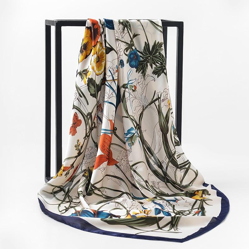 2017 NEW Fashion Luxury Brand   Scarf   100% Silk Feeling Shawl   Scarf   Foulard Square   Scarves   Hijab   Wraps   90x90cm