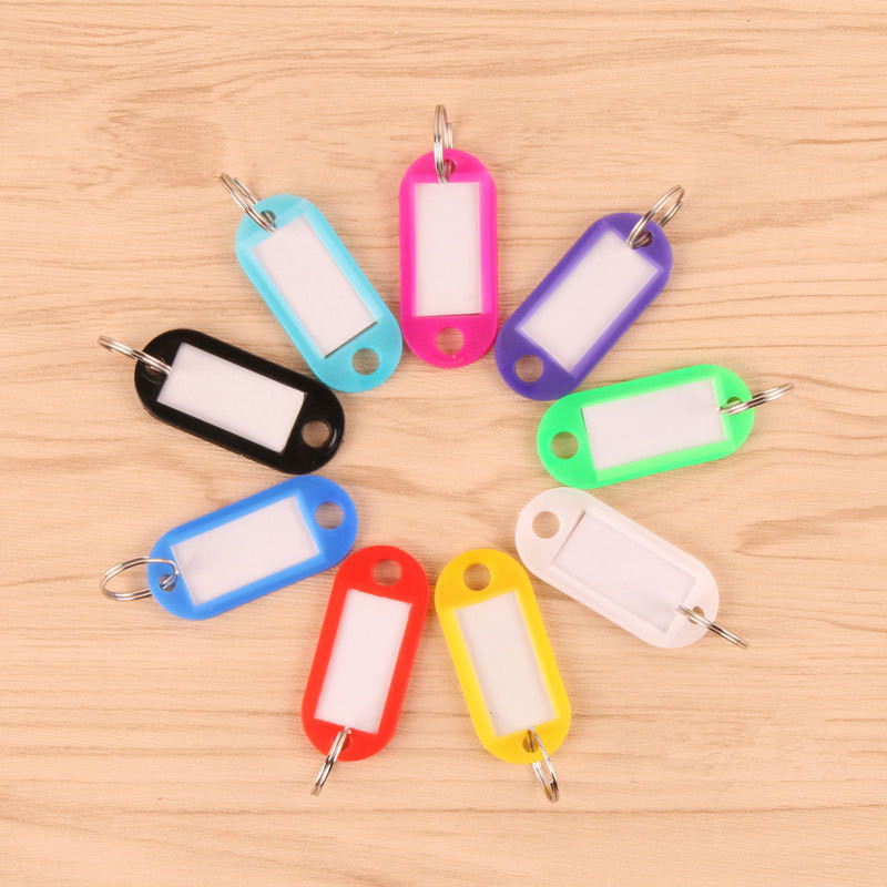 1000pcs/lot Metal Ring Colorful Plastic Key Fobs Luggage ID Card Name Label Tag Keyring Keychain Classification