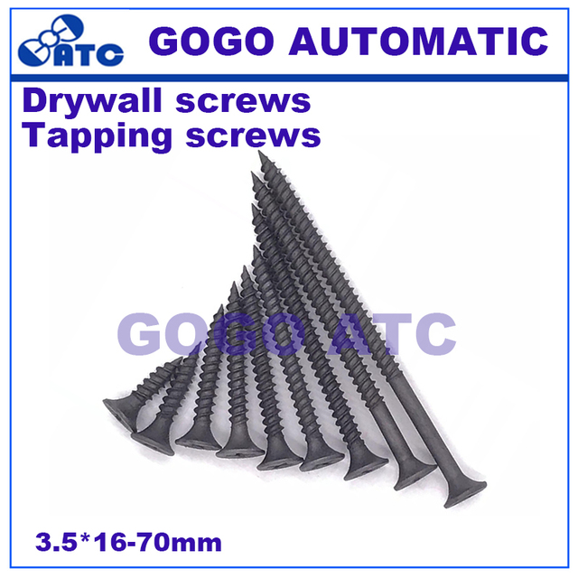 US $2 76 30% OFF|High strength hardened large box drywall nails Self  tapping screws Gypsum board screws Double wire screws 3 5*16 70mm -in  Pneumatic
