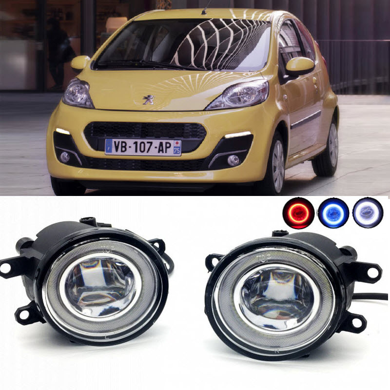 2 in 1 LED Angel Eyes DRL 3 Colors Daytime Running Lights Cut-Line Lens Fog Lamp for Peugeot 107 PN PM 2012 2013 2014 car styling 2 in 1 led angel eyes drl daytime running lights cut line lens fog lamp for land rover freelander lr2 2007 2014