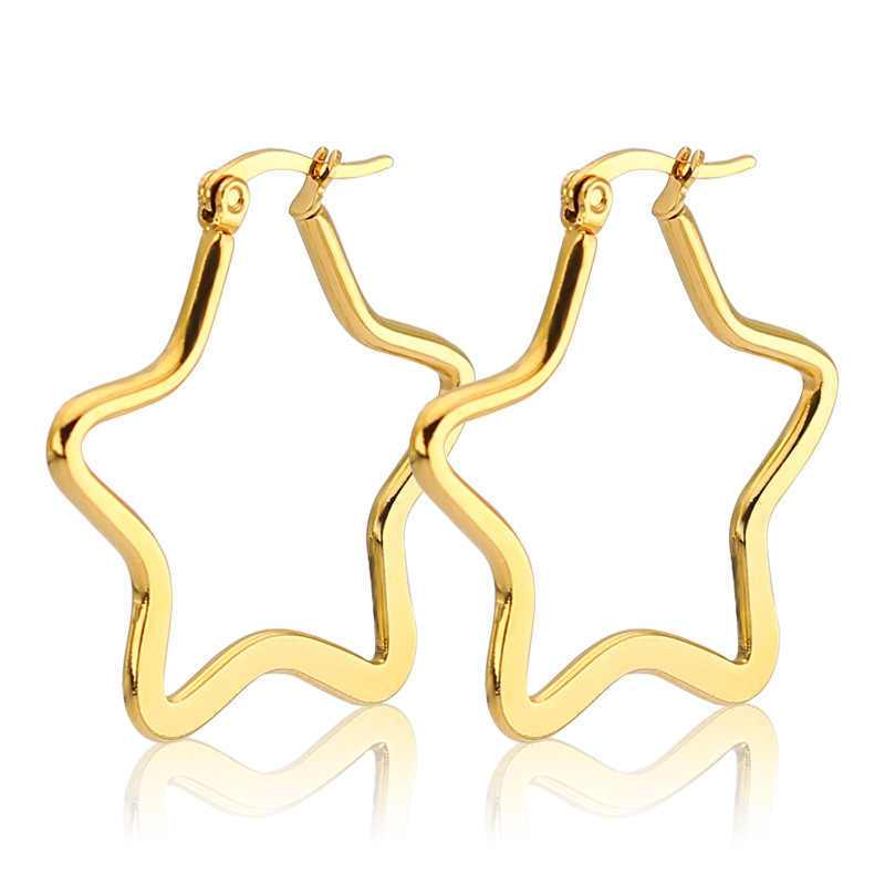 الكلاسيكية الذهب اللون الكبير ستار شكل هوب أقراط للنساء أضيق الحدود الفولاذ المقاوم للصدأ بيان الأذن مجوهرات الشرير الصخرة 2018