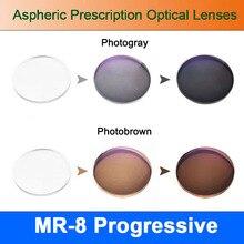 Gafas de prescripción MR-8 fotocrómicas digitales forma libre, progresivas, asféricas, superresistentes, para sin montura diamante