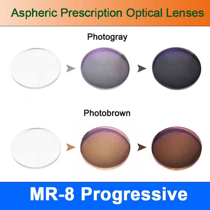 MR 8 Super Tough Photochromic Digital Free form Progressive Aspheric Prescription Lenses for Diamond Cutted Rimless Glasses