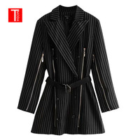 2018 Autumn Striped Blazers Jacket Women Sashes Chaqueta Mujer Harajuku Zipper Coat Casaco Feminino Clothes Black Jaqueta