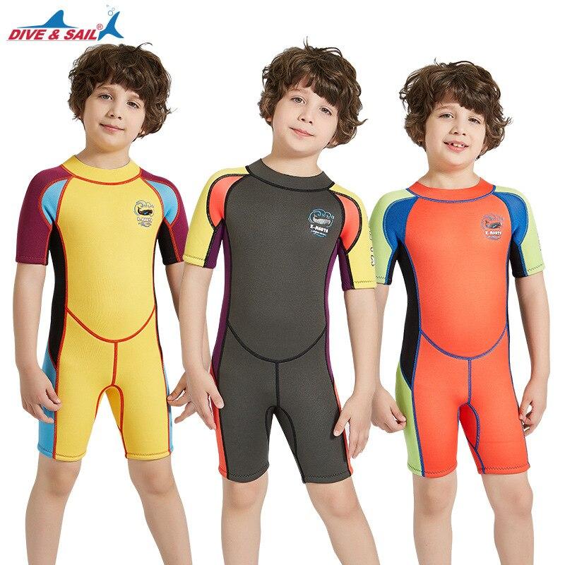 2.5 MM Neoprene crianças One piece-mergulho terno menino crianças Manga curta Wetsuit Swimwear Manter Aquecido proteção UV Terno molhado surf