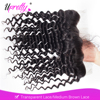 Upretty 13x4 Transparent Lace Frontal Brazilian Deep Wave Curly Remy Human Hair Preplucked Lace Frontal Closure Bleached Knot