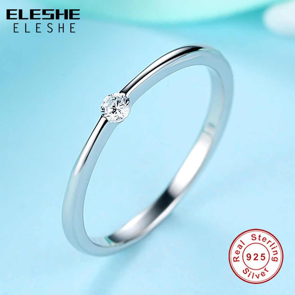 ELESHE ของแท้ 925 แหวนเงินสเตอร์ลิงรอบคริสตัล Zircon แหวนสำหรับเครื่องประดับหมั้นผู้หญิงเครื่องประดับคริสต์มาสของขวัญ
