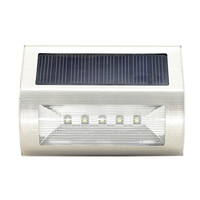 Stainless Steel Solar 5 LED Solar Wall Light Outdoor Garden Lamp Waterproof FULI