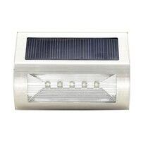 Stainless Steel Solar 5 LED Solar Wall Light Outdoor Garden Lamp Waterproof FULI