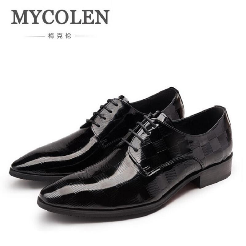 MYCOLEN Men Dress Shoes Mens Patent Leather Office Shoes Lace Up Black Wedding Business Oxfords Brand Pointed Toe Men Flats good quality men genuine leather shoes lace up men s oxfords flats wedding black brown formal shoes